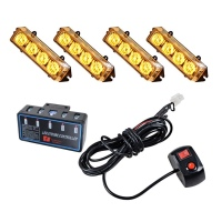 (AMBER) 4x  4LED WARNING, EMERGENCY STROBE LIGHT